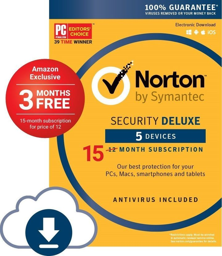 "<strong>Norton Security Deluxe 5 Devices; Amazon Exclusive 15-month Subscription - <a href=""https://www.amazon.com/gp/product"
