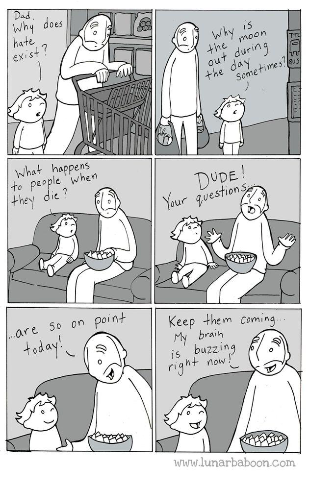 Le dolcissime vignette di un papà sui suoi due figli mostrano la tenerezza dell'essere
