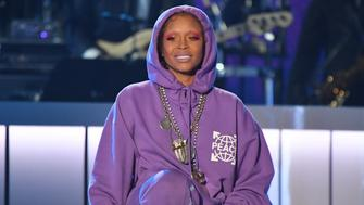 LAS VEGAS, NV - NOVEMBER 05:  Host Erykah Badu speaks onstage during the 2017 Soul Train Music Awards at the Orleans Arena on November 5, 2017 in Las Vegas, Nevada.  (Photo by Mindy Small/FilmMagic,)