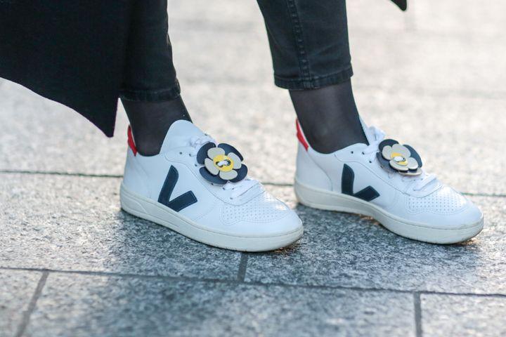 Pauline Darris wears Veja shoes in Paris on Dec. 29, 2016.