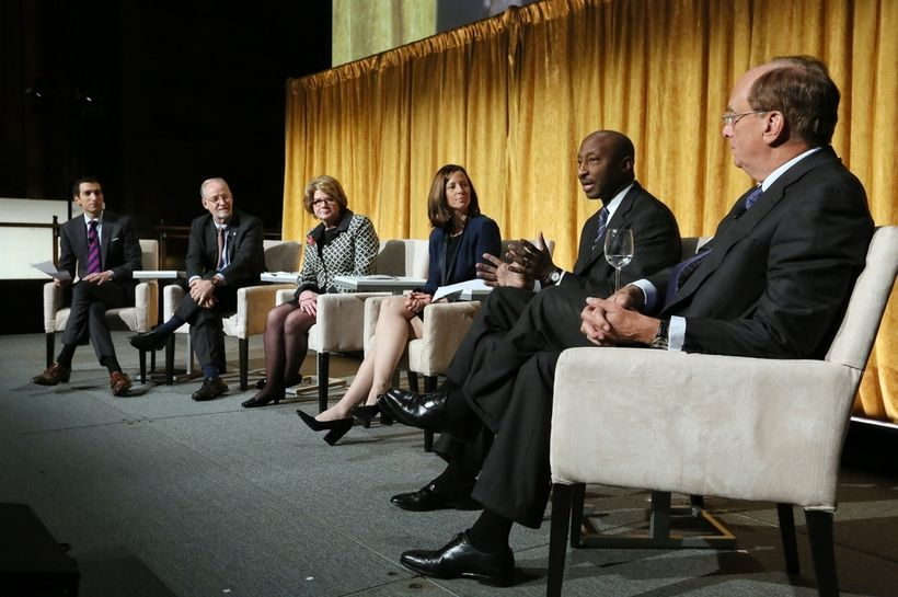 Andrew Ross Sorkin, Kendall J. Powell, Beth Mooney, Adena Friedman, Kenneth C. Frazier, Laurence D. Fink