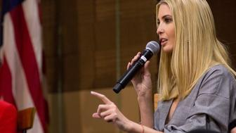 BIDDEFORD, ME - NOVEMBER 10: Ivanka Trump talks to an audience of about 200 people at an invite-only forum about the Republican the tax reform plan with Sen. Susan Collins and U.S. Treasurer Jovita at Volk Packaging Corporation. (Staff photo by Brianna Soukup/Portland Press Herald via Getty Images)