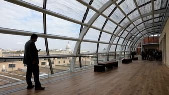 The dome of the U.S. Capitol is seen from the top floor of the Museum of the Bible during a preview day in Washington, U.S., November 14, 2017. REUTERS/Kevin Lamarque