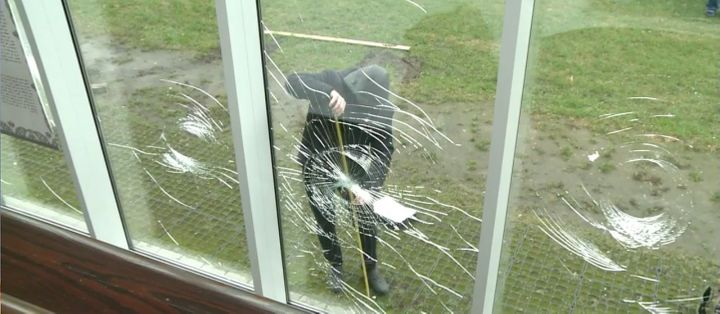 As seen in a video from AFP, the windows of Warsaw's Muslim Cultural Centre were shattered in an early morning attack Monday.