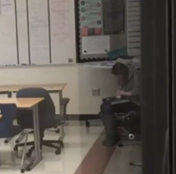 This screenshot from a video allegedly shows Indiana teacher Samantha Cox using cocaine. She was arrested Wednesday on charge