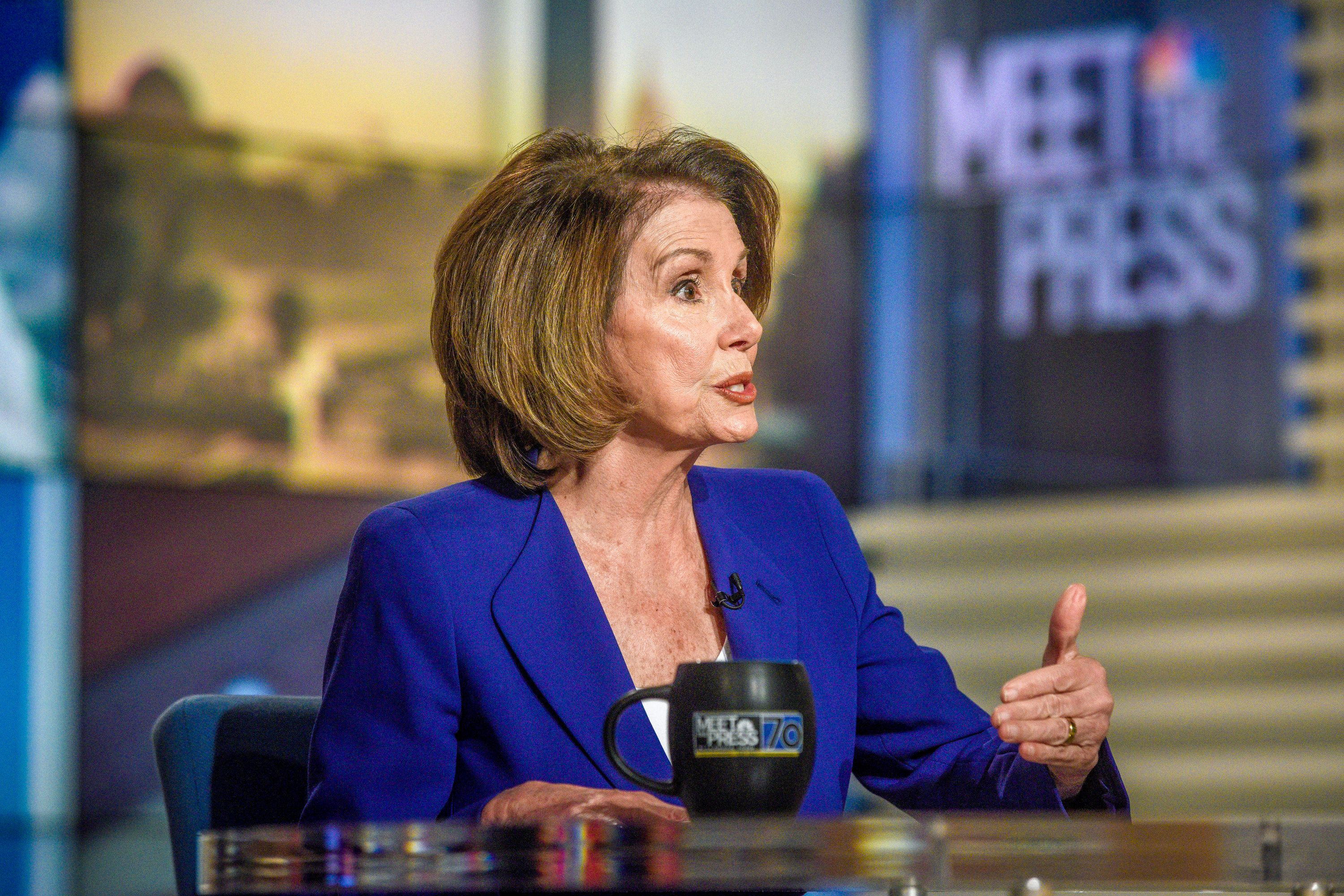 MEET THE PRESS -- Pictured: (l-r)   Rep. Nancy Pelosi (D-CA) appears on 'Meet the Press' in Washington, D.C., Sunday, Nov. 26, 2017.  (Photo by: William B. Plowman/NBC/NBC NewsWire via Getty Images)