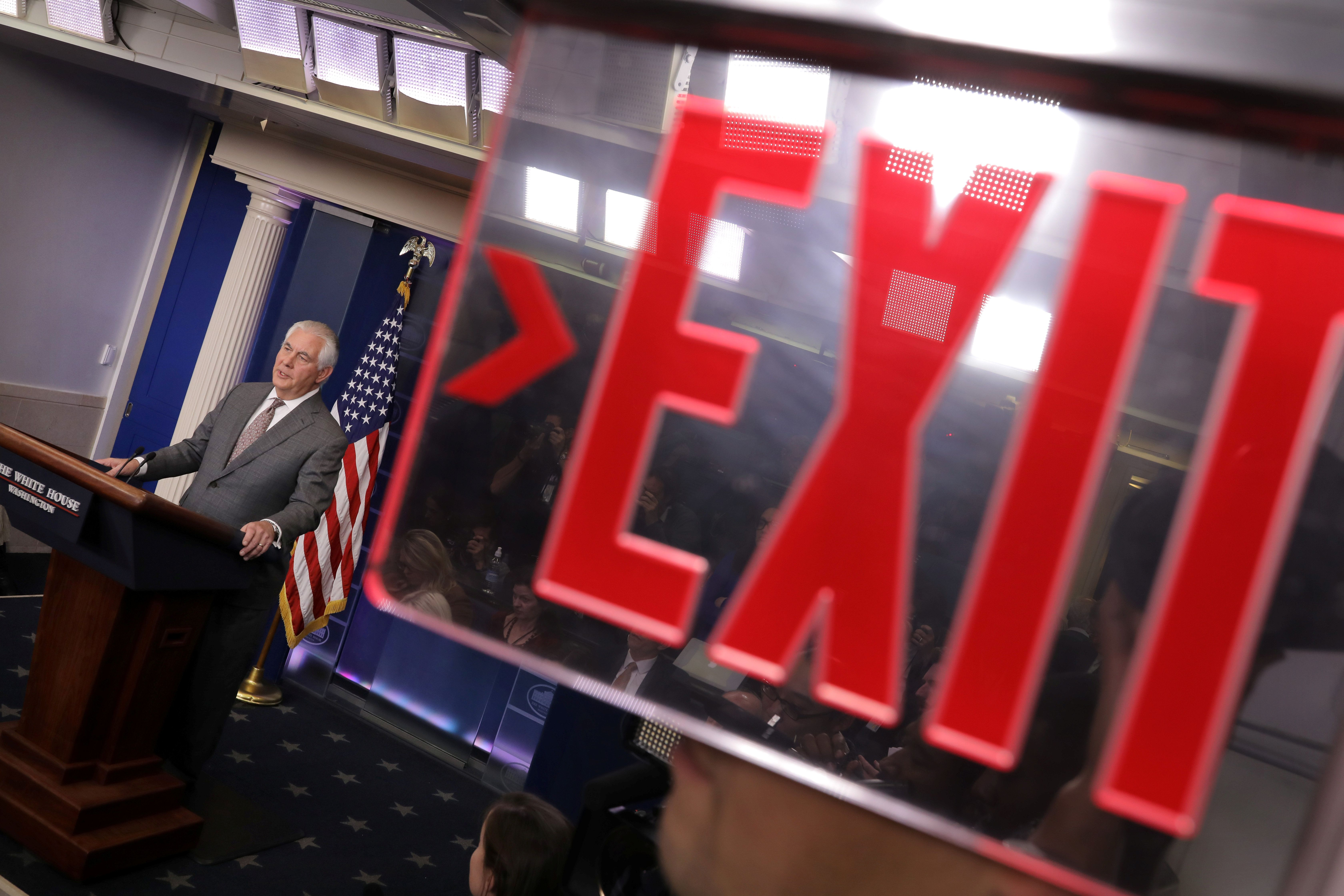 U.S. Secretary of State Rex Tillerson answers questions during the daily briefing at the White House in Washington, DC, U.S. November 20, 2017. REUTERS/Carlos Barria