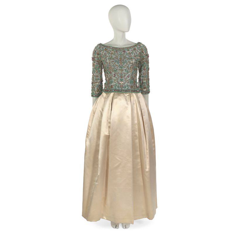 Sarmi: Evening dress of silk embroidered with beads and satin, 1961. Worn to the inaugural ball in honor of President John F.