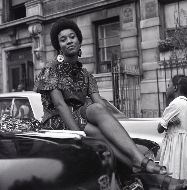 Grandassa model Pat Bardonelle during the Garvey Day Parade, August 17, 1968.