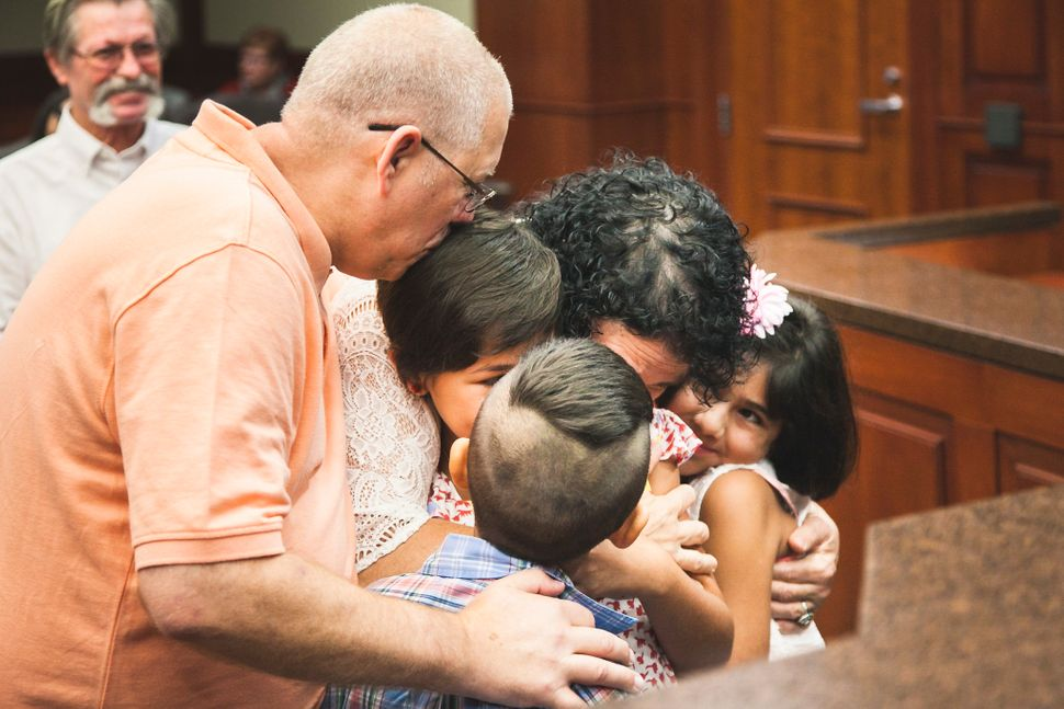 """""""This is the moment Jim and Jeanette's grandkids officially became their kids. The judge ruled in their favor and everyone in"""