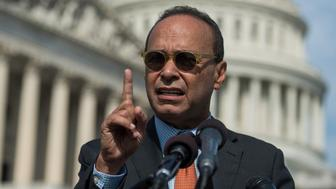 UNITED STATES - OCTOBER 05: Rep. Luis Gutierrez, D-Ill., speaks during a news conference at the House Triangle on October 5, 2017, to call for FEMA and the Puerto Rican government to work together to evacuate sick and elderly victims of Hurricane Maria. (Photo By Tom Williams/CQ Roll Call)