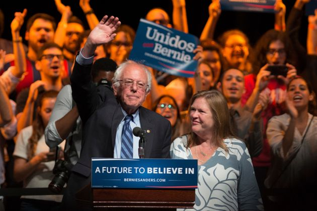 Sen. Bernie Sanders at a rally for supporters of his 2016 presidential bid at the University of Puerto...
