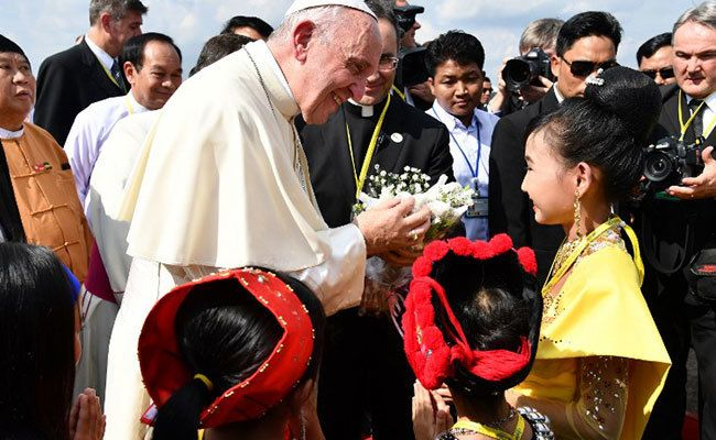 Pope Francis early during the first papal visit to Myanmar.