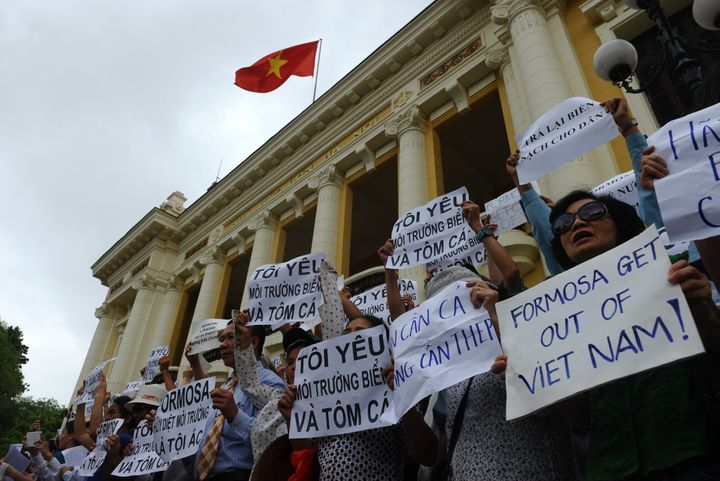 Vietnamese protesters demonstrate against Taiwanese conglomerate Formosa during a rally in downtown Hanoi on May 1, 2016.
