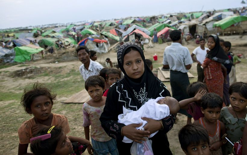 Displaced Rohingya living at a camp in Sittwe, Myanmar.