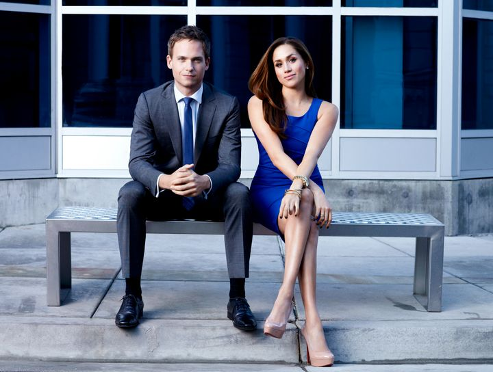 "Patrick J. Adams and Meghan Markle in a photo for season 2 of ""Suits."""