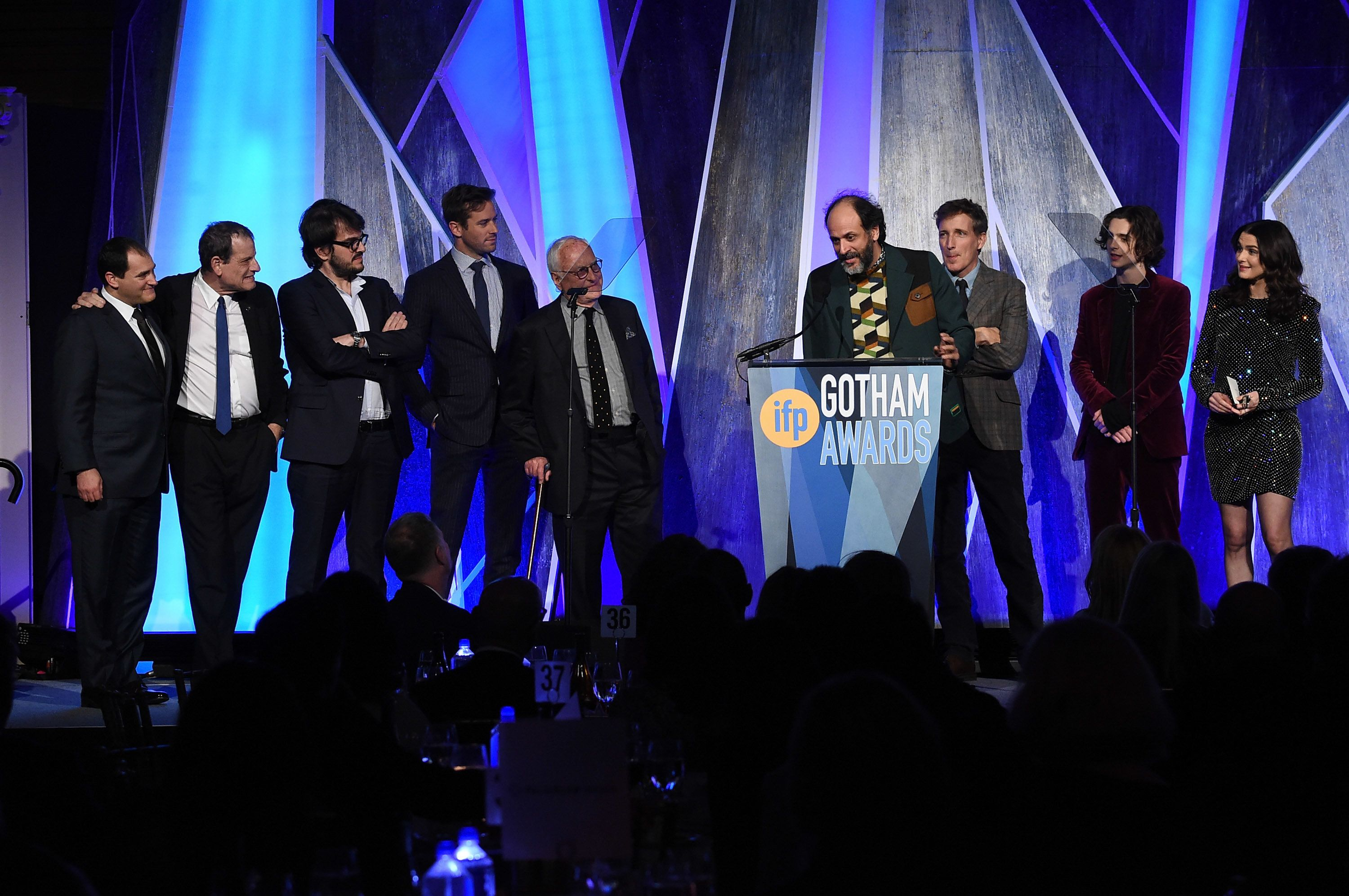 "Director Luca Guadagnino, along with the cast and producers of ""Call Me by Your Name,"" accepts a Gotham Award on Nov. 27, 201"