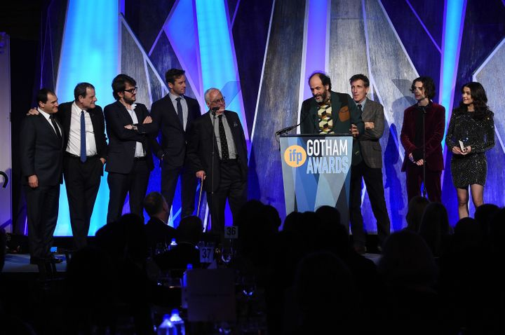 """Director Luca Guadagnino, along with the cast and producers of """"Call Me by Your Name,"""" accepts a Gotham Award on Nov. 27, 201"""
