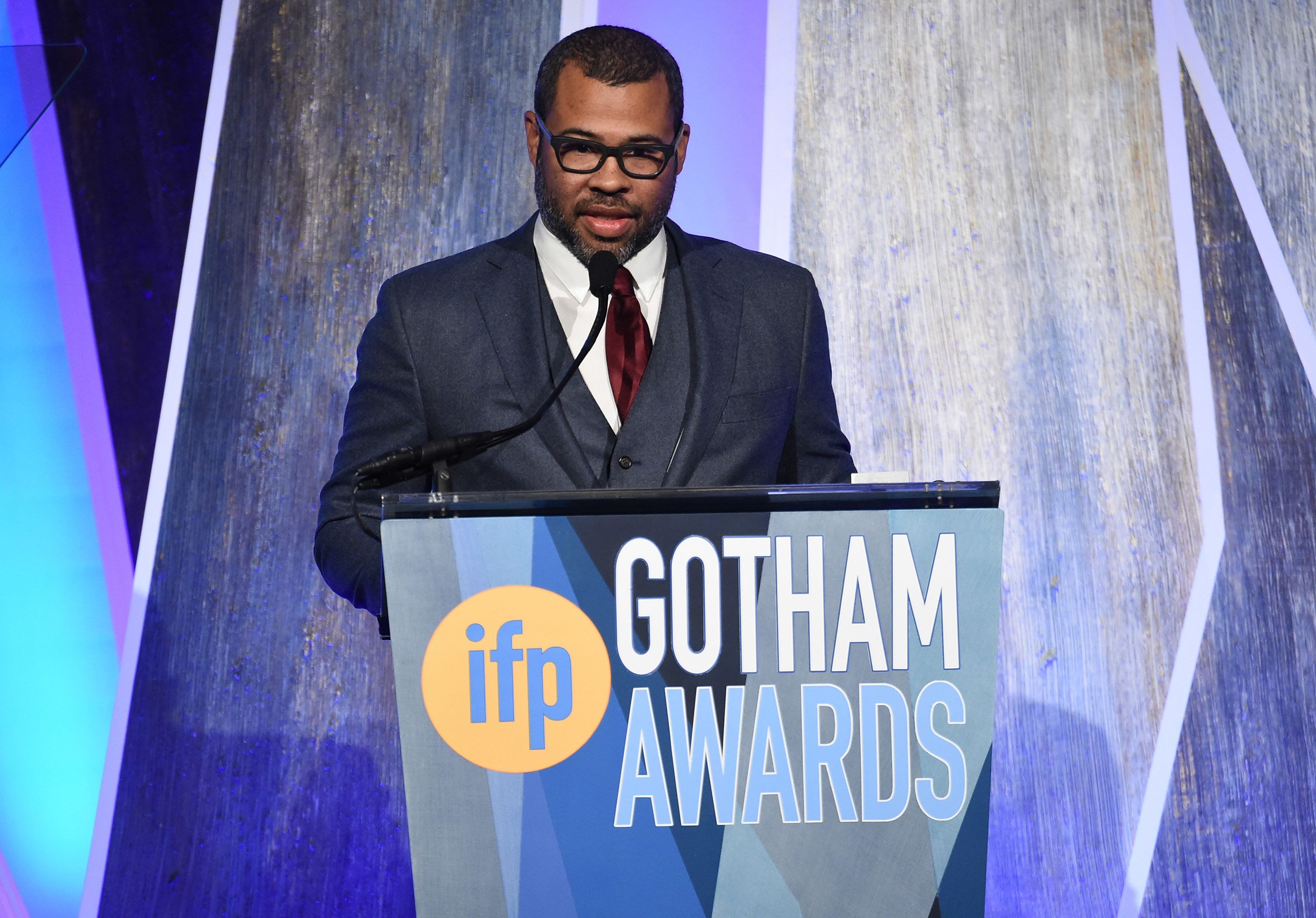 "Jordan Peele, director of ""Get Out,"" accepts one of his two Gotham Awards on Nov. 27, 2017."