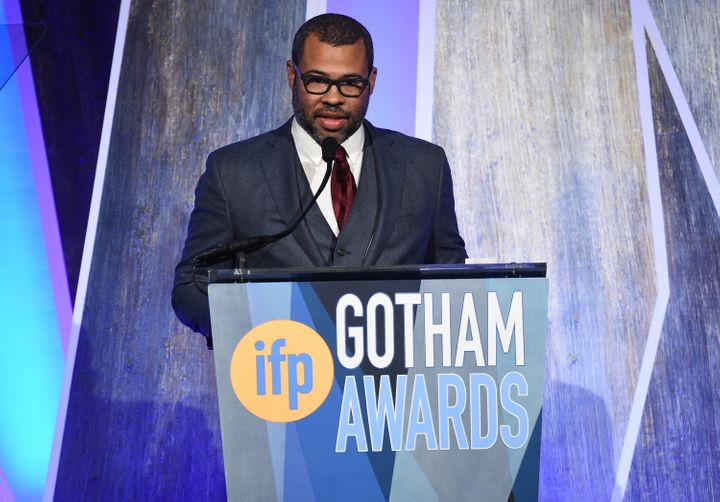 """Jordan Peele, director of """"Get Out,"""" accepts one of his two Gotham Awards on Nov. 27, 2017."""