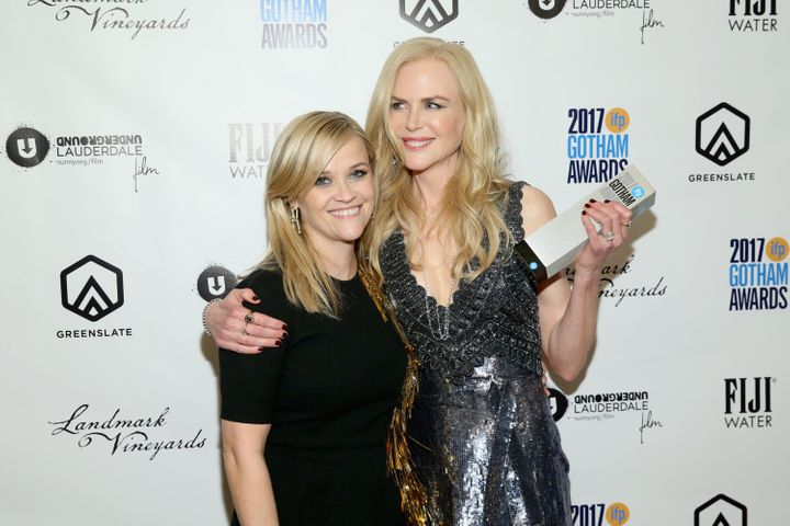 Nicole Kidman (right) poses in the press room after accepting a tribute at the Gotham Awards, presented by Reese Witherspoon.