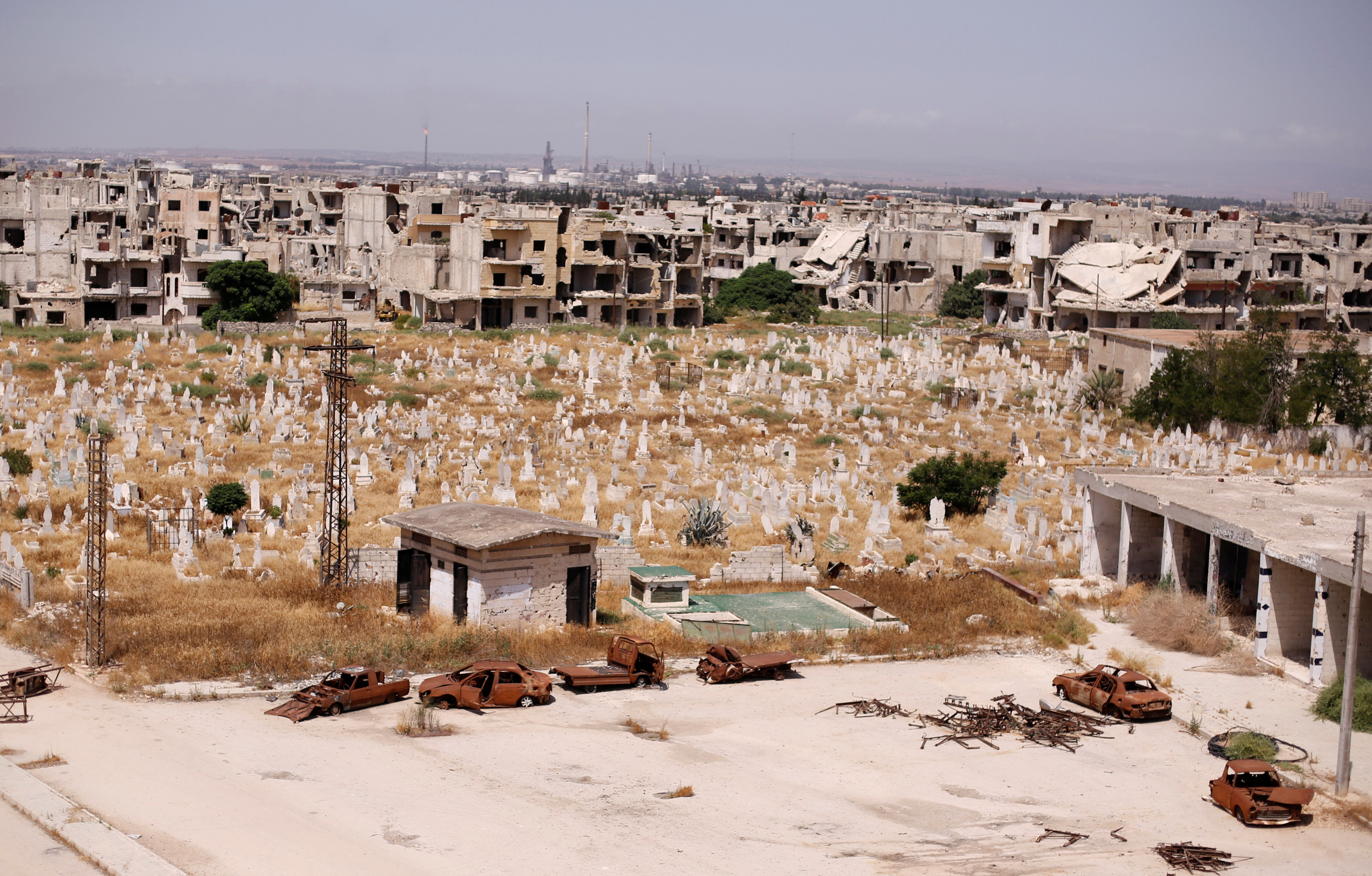 <strong>The families left the Syrian city of Homs, which has been a key battleground in the conflict.</strong>