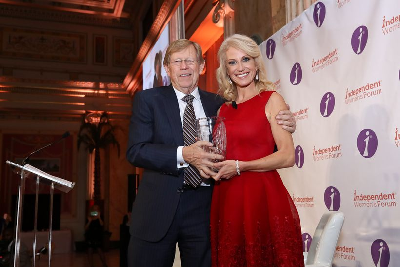 Ted Olson, Partner at Gibson Dunn, presents the IWF Woman of Valor Award to Kellyanne Conway, Counselor to the President and