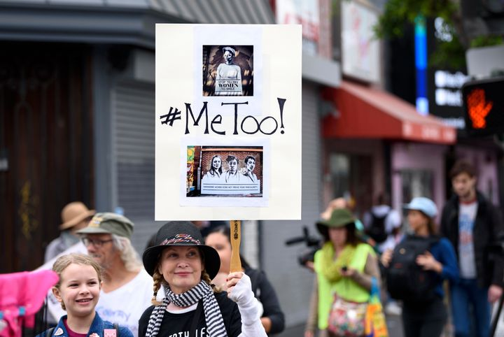 Protesters attend a #MeToo rally in Los Angeles on Nov. 12.