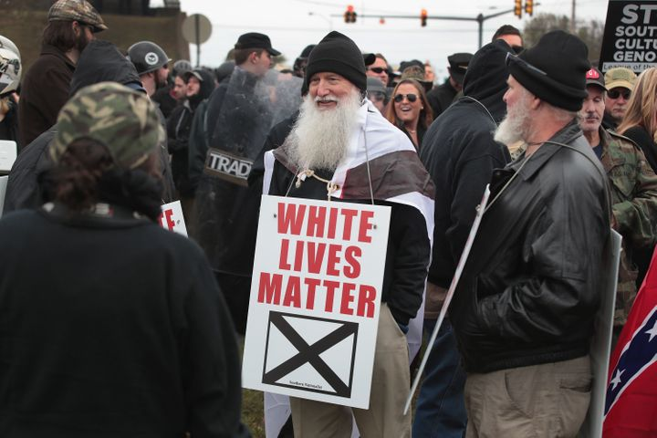 White nationalists attend a rally on Oct. 28 in Shelbyville, Tennessee.