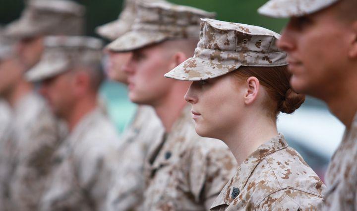 Formation of Marines in Quantico, Virginia.