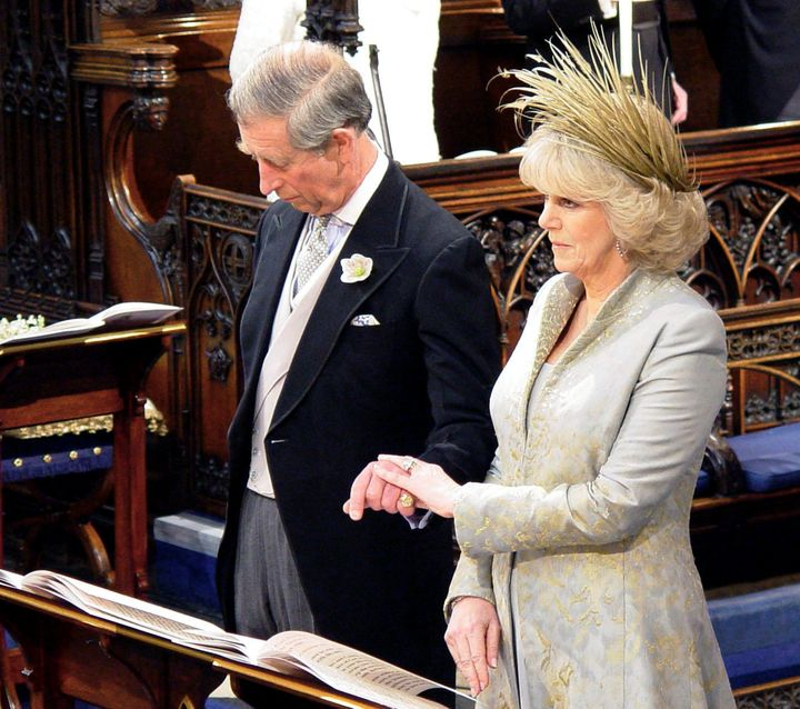 Prince Charles and Camilla Parker Bowles inside St. George's Chapel for the service of prayer and dedication following their