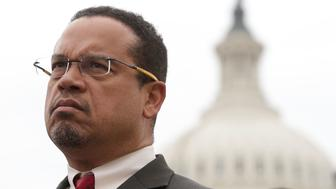 WASHINGTON, DC - FEBRUARY 01:  U.S. Rep. Keith Ellison (D-MN) listens during a news conference in front of the Capitol February 1, 2017 on Capitol Hill in Washington, DC. Rep. Ellison hosted the press conference to discuss President Donald Trump's travel ban, which prevents immigrants and refugees from seven Muslim-majority countries from entering the U.S,  and objections to Senator Jeff Sessions' nomination to the position of Attorney General.  (Photo by Alex Wong/Getty Images)