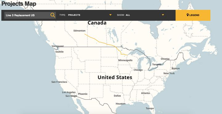 A map on Enbridge Energy's website shows the proposed route for the Line 3 pipeline.