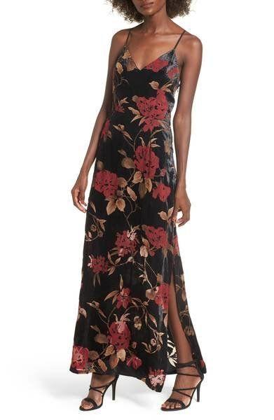 """We're swooning over <a href=""""https://shop.nordstrom.com/s/storee-velvet-burnout-maxi-dress/4742028?origin=keywordsearch-perso"""