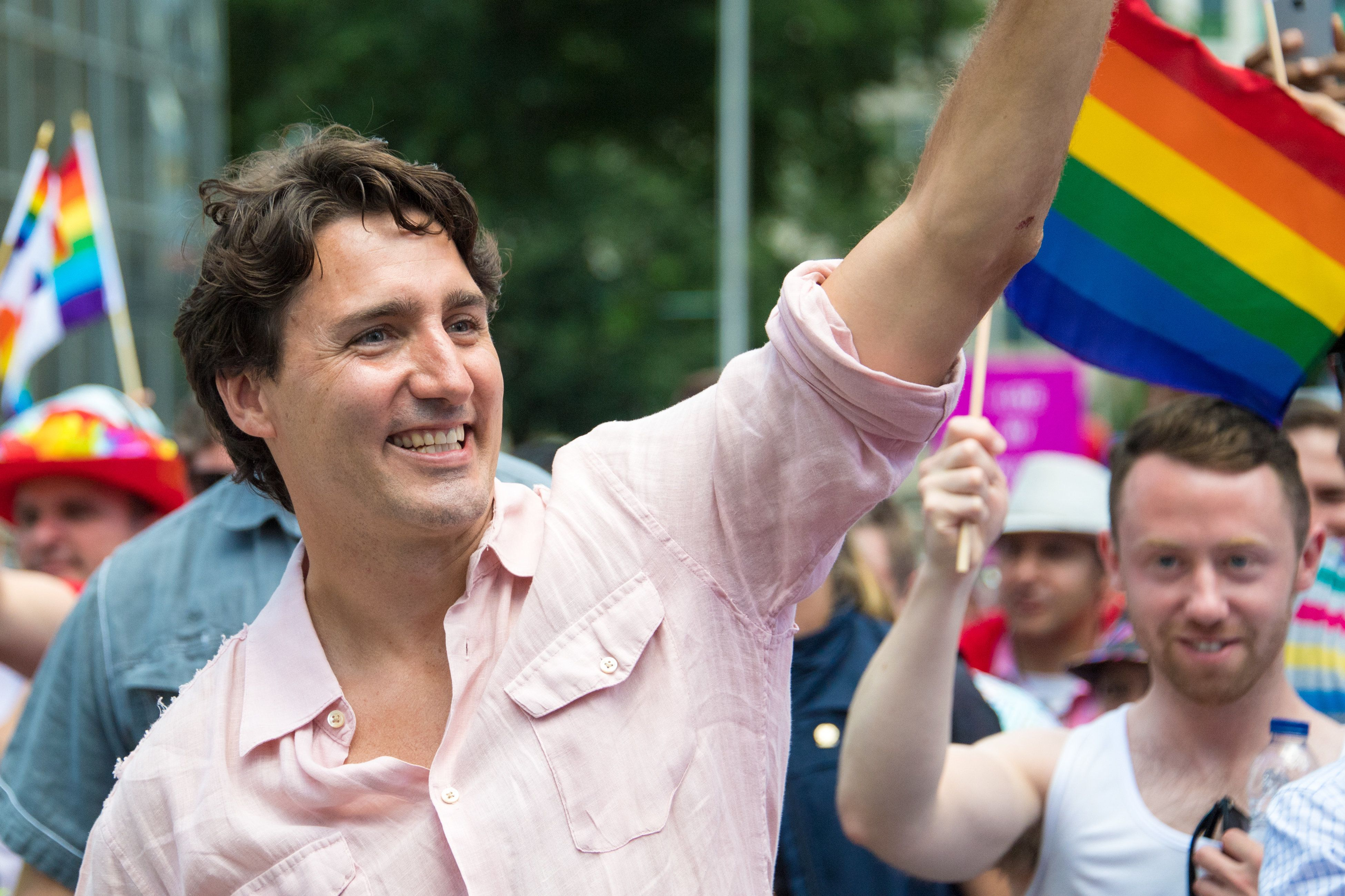 Canadian Prime Minister Justin Trudeau marches in Toronto's Pride Parade in June 2016.