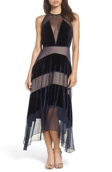 "We love how <a href=""https://shop.nordstrom.com/s/foxiedox-velvet-stripe-midi-dress/4738269?origin=keywordsearch-personalized"
