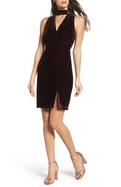 "A <a href=""https://shop.nordstrom.com/s/adelyn-rae-elle-velvet-choker-sheath-dress/4755029?origin=keywordsearch-personalizeds"