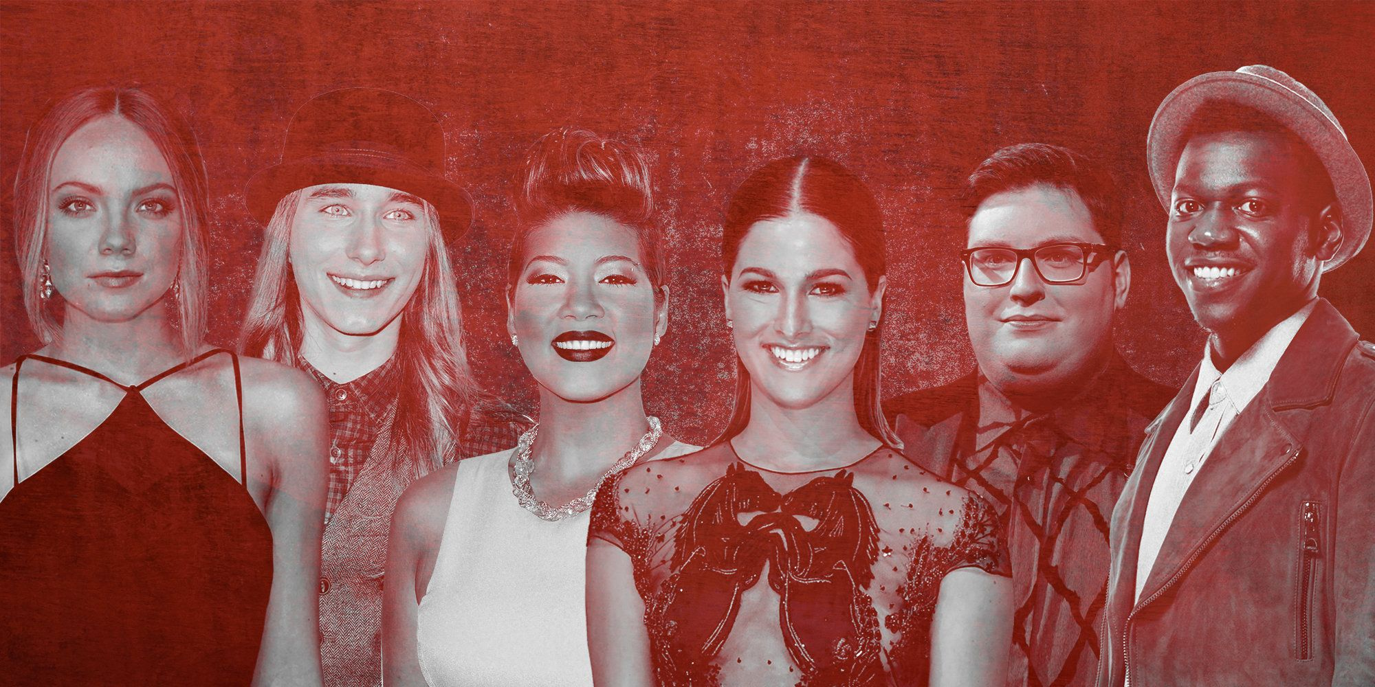 """Voice"" winners Danielle Bradbery (season four), left, Sawyer Fredericks (season eight), Tessanne Chin (season five), Ca"