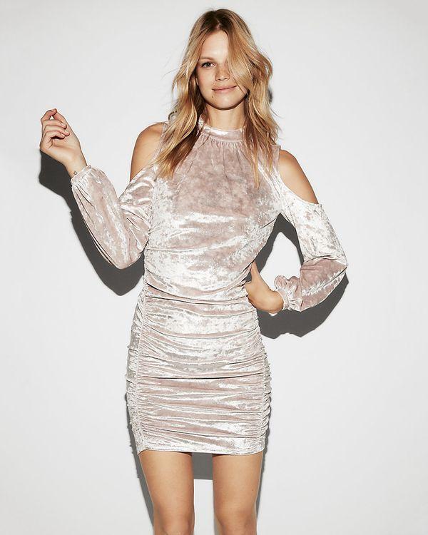 """For <a href=""""https://www.express.com/clothing/women/crushed-velvet-cold-shoulder-dress/pro/07920509/color/BLUSH?gclid=CjwKCAi"""