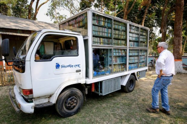 The bookmobile, providing resources for reading and enrichment (FCAB provides the newspapers)