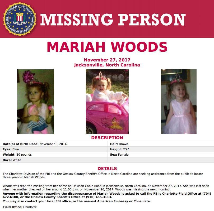 Federal Bureau of Investigation joins search for missing toddler in Onslow County