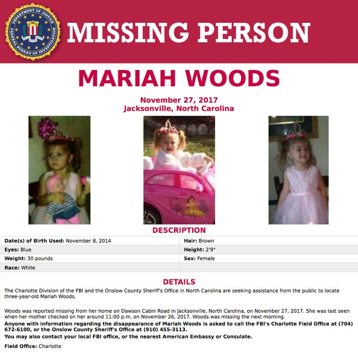 An online FBI poster for Mariah Woods, a missing three-year-old.