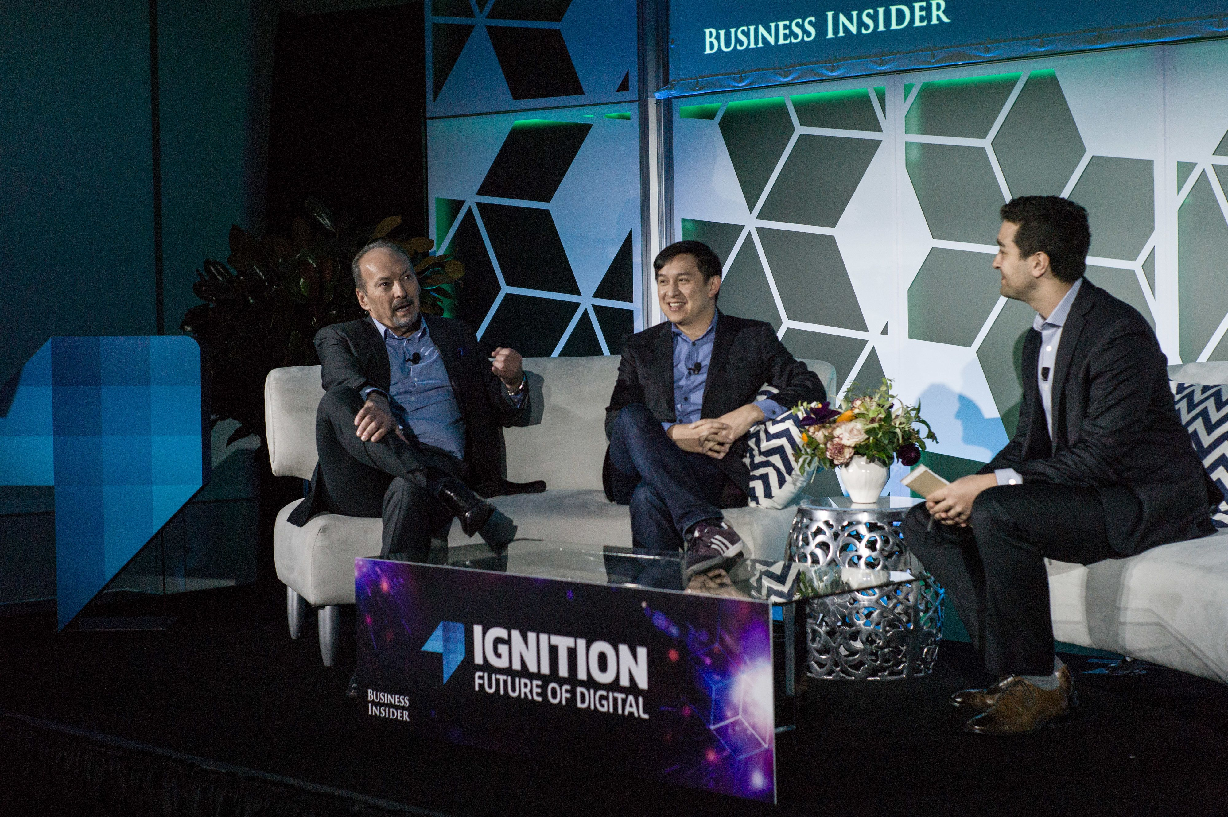 Peter Moore, chief competition officer of Electronic Arts Inc. (EA), left, and Kevin Lin, chief operating officer of TwitchTV, participate in a panel discussion during the IGNITION: Future Of Digital Conference in New York, U.S., on Tuesday, Dec. 6, 2016. The IGNITION conference brings together the best minds in media and technology to share what they see on the horizon. Photographer: Misha Friedman/Bloomberg via Getty Images
