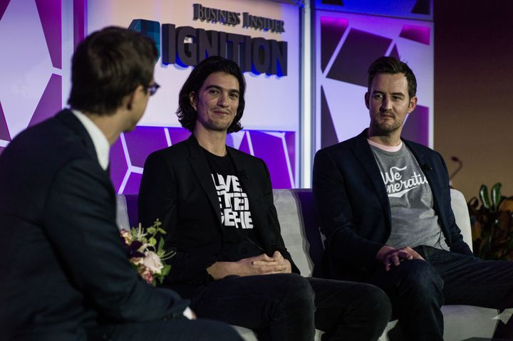 Panelists at last year's Ignition conference included WeWork co-founders Adam Neumann, center, and Miguel McKelvey. None of t