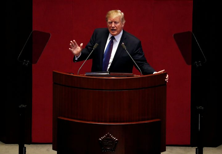 President Donald Trump spoke at the South Korean National Assembly in Seoul earlier this month to call for international