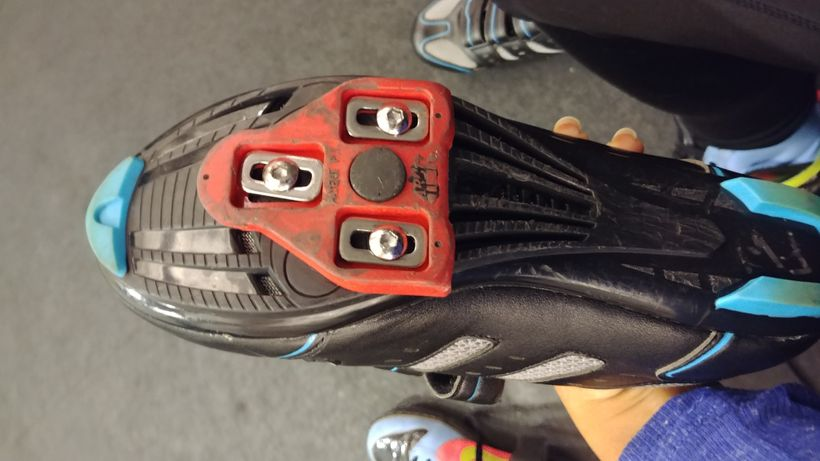 What the bottom of the shoes look like... they actually click into the bike so don't worry about falling off.