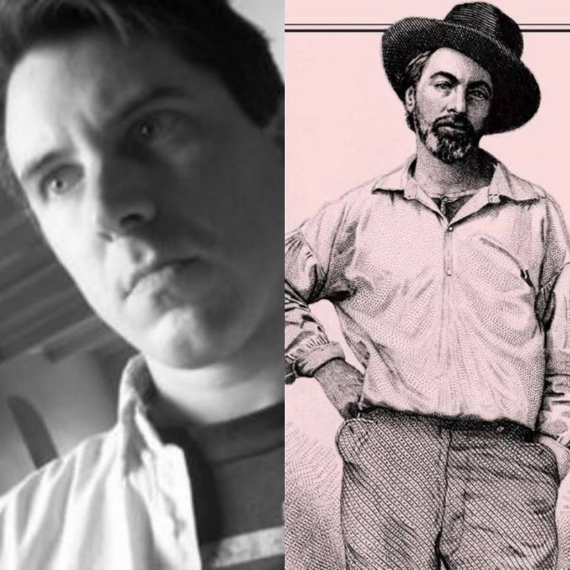<em>(l) William Allegrezza at the 21st century (r) a young Walt Whitman at the 19th century</em>