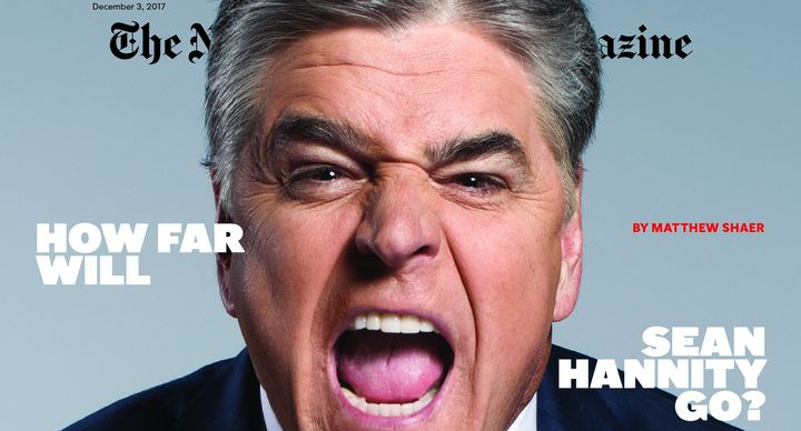 Part of the cover of the New York Times Magazine featuring Sean Hannity.