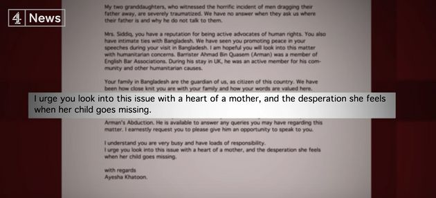 A letter sent toSiddiq by Quasem's mother pleading for her
