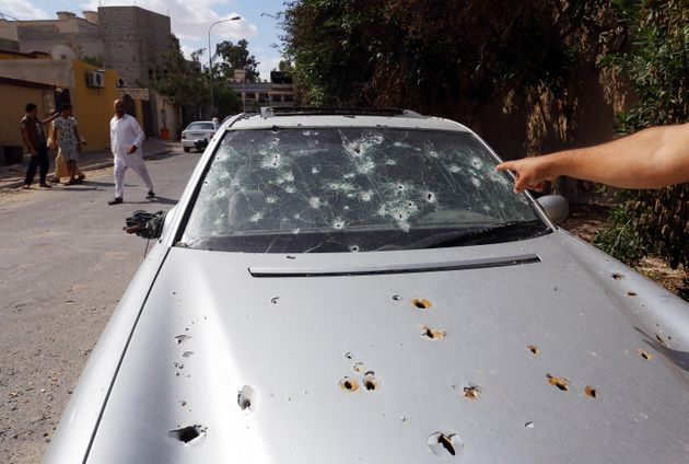 A bullet-ridden car in Sabratha on Libya's coast last